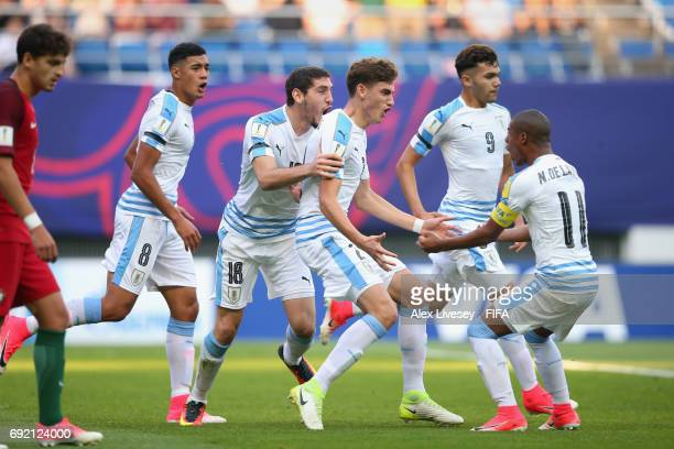Santiago Bueno of Uruguay celebrates with team mates after scoring during the FIFA U20 World Cup Korea Republic 2017 Quarter Final match between...