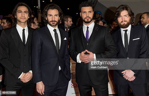 Santiago Cabrera Tom Burke Luke Pasqualino and Howard Charles of The Musketeers attend the National Television Awards at 02 Arena on January 22 2014...