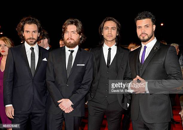 Santiago Cabrera Tom Burke Luke Pasqualino and Howard Charles of The Musketeers attend the National Television Awards at the 02 Arena on January 22...