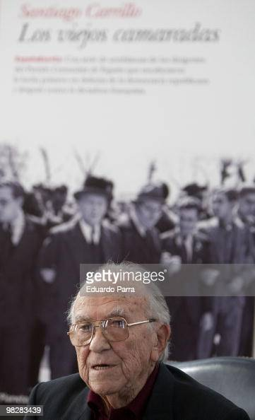 Santiago Carrillo attends new book 'Los viejos camaradas' press conference at Planeta publishing house office on April 6 2010 in Madrid Spain