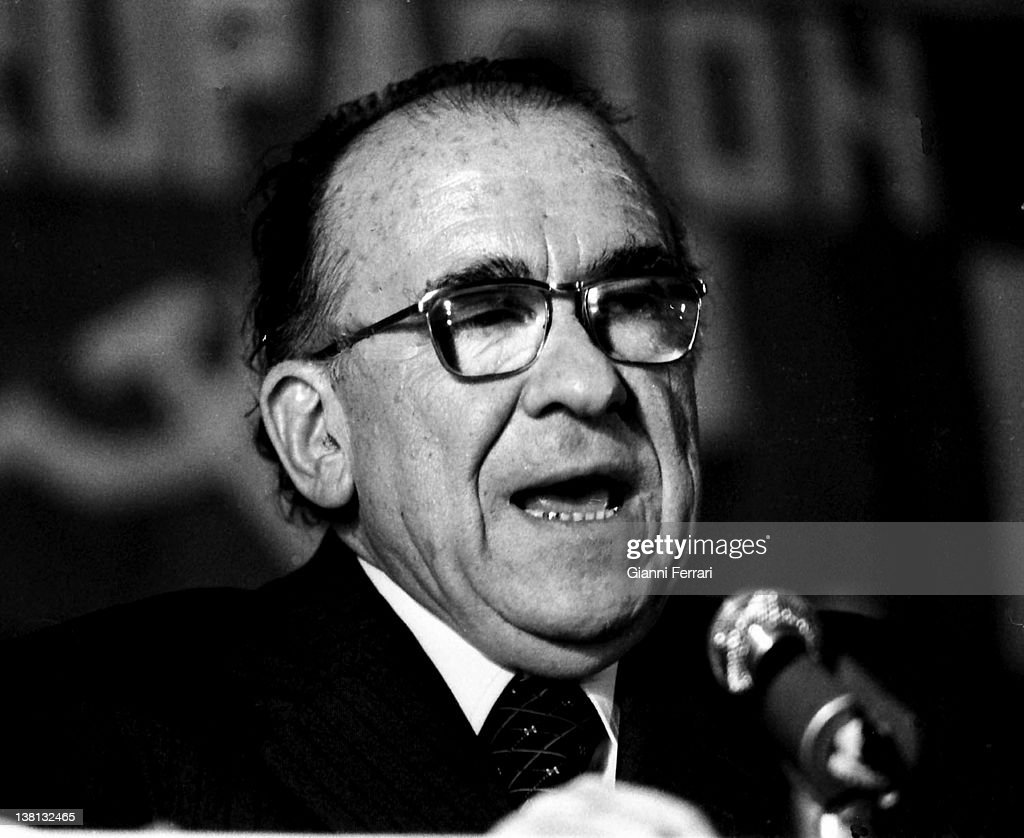 Santiago Carrillo General Secretary of the Spanish Communist Party in in the Eurocommunist Summit Barcelona Spain