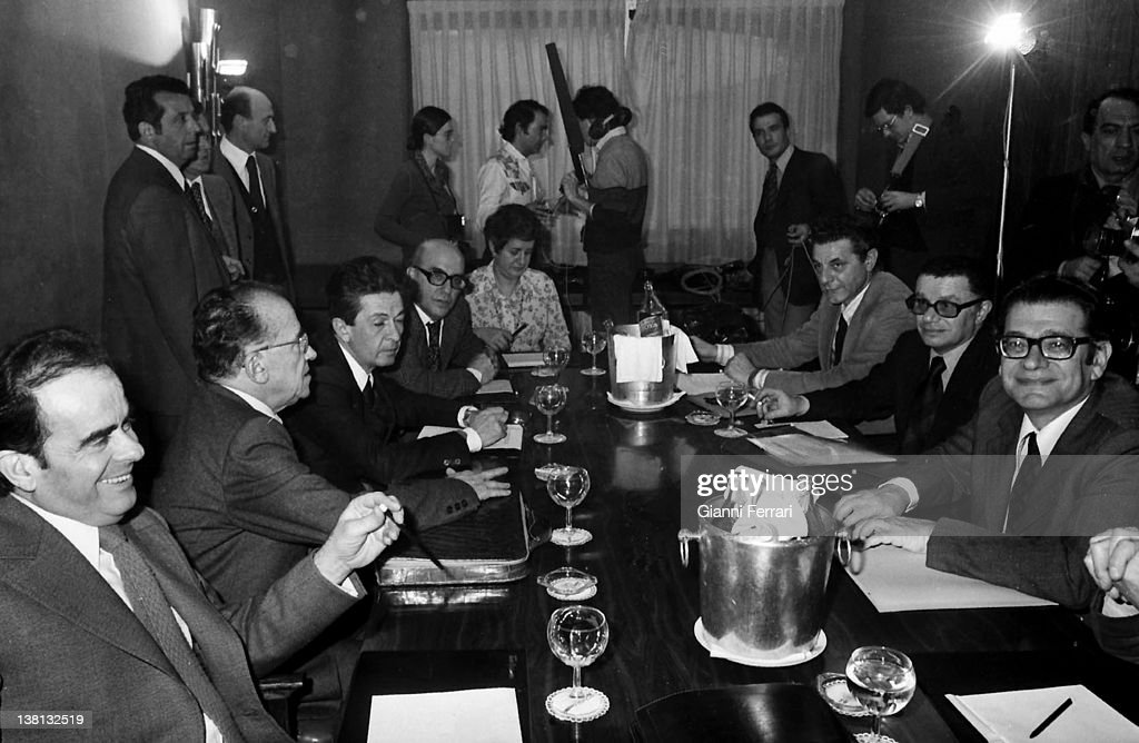 Santiago Carrillo General Secretary of the Spanish Communist Party in in the Eurocommunist Summit Barcelona Spai n