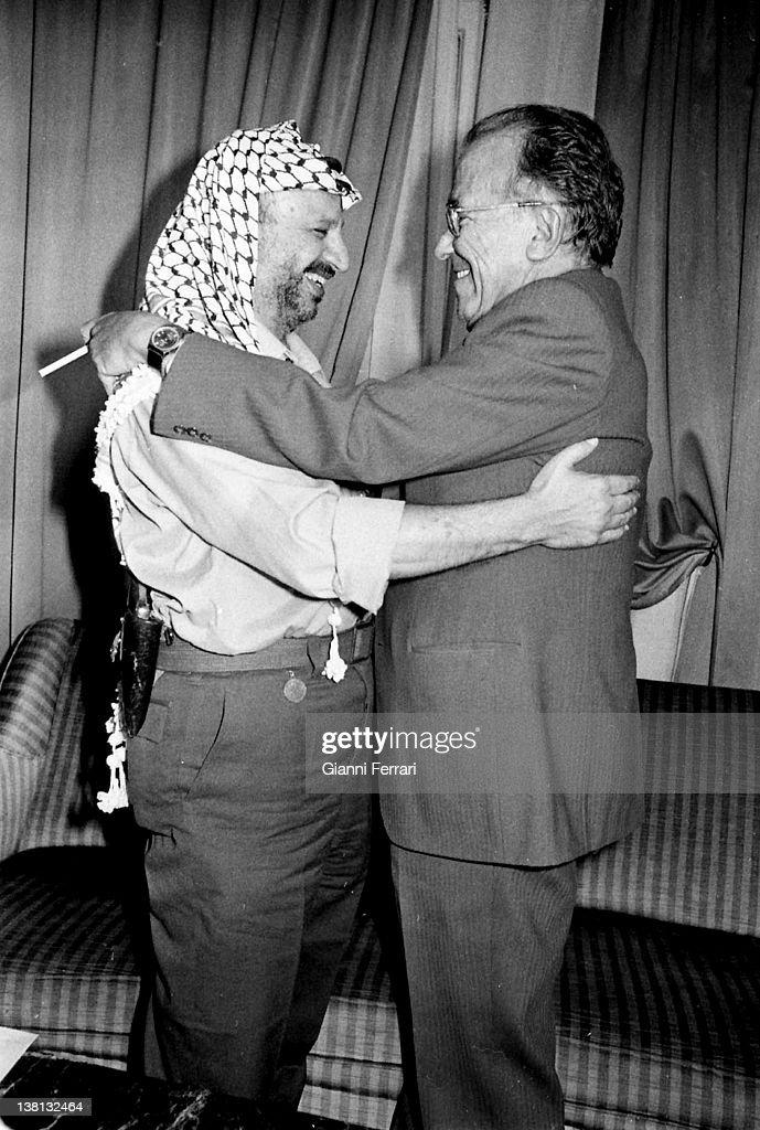 Santiago Carrillo General Secretary of the Spanish Communist Party with Yasser Arrafat 1979 Madrid Spain