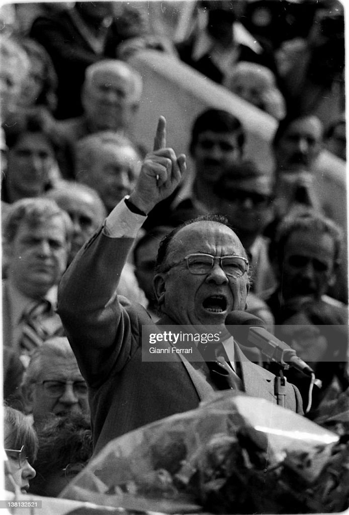 Santiago Carrillo in 9º Congress of the Spanish Communist Party 20th April 1978 Madrid Spain