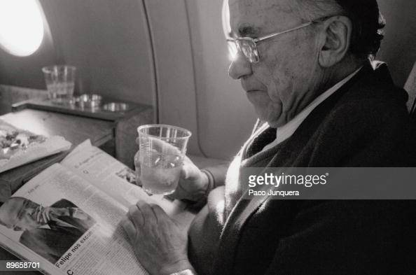 Santiago Carrillo politician The PCE«s general secretary reads a newspaper during a trip in the electoral campaign