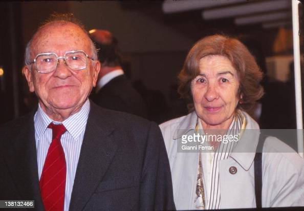 Santiago Carrillo Secretary General of the Spanish Communist Party with his wife First December 1997 Madrid Spain