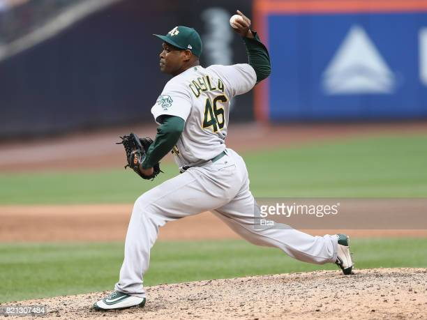 Santiago Casilla of the Oakland Athletics delivers a pitch in the ninth inning against the New York Mets on July 23 2017 at Citi Field in the...