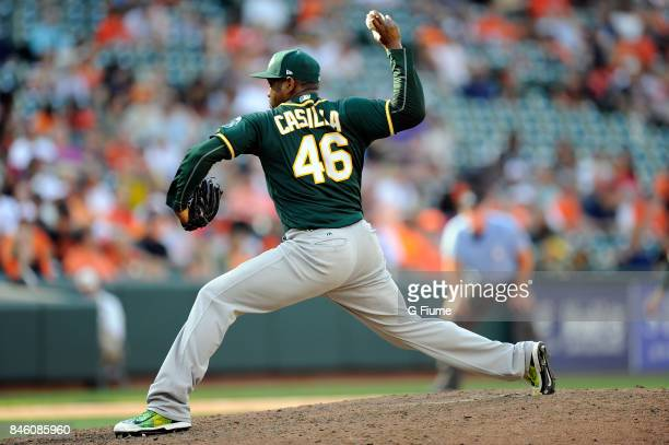 Santiago Casilla of the Oakland Athletics pitches against the Baltimore Orioles at Oriole Park at Camden Yards on August 23 2017 in Baltimore Maryland