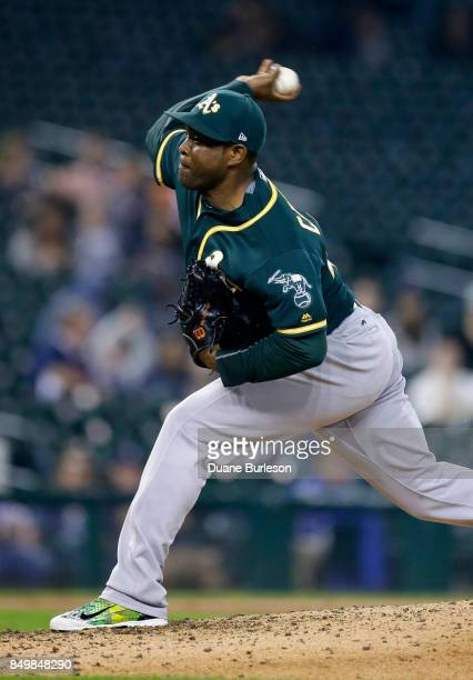 Santiago Casilla of the Oakland Athletics pitches against the Detroit Tigers during the seventh inning at Comerica Park on September 19 2017 in...