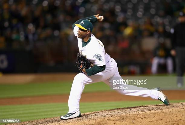Santiago Casilla of the Oakland Athletics pitches against the Tampa Bay Rays in the ninth inning at Oakland Alameda Coliseum on July 18 2017 in...