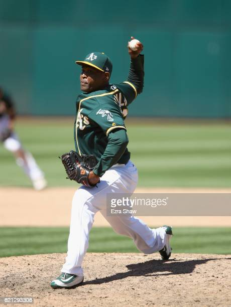 Santiago Casilla of the Oakland Athletics pitches against the Tampa Bay Rays at Oakland Alameda Coliseum on July 19 2017 in Oakland California