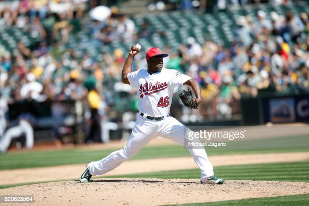 Santiago Casilla of the Oakland Athletics pitches during the game against the Atlanta Braves at the Oakland Alameda Coliseum on July 2 2017 in...