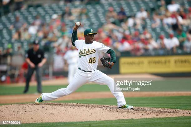 Santiago Casilla of the Oakland Athletics pitches during the game against the Los Angeles Angels of Anaheim at the Oakland Alameda Coliseum on...