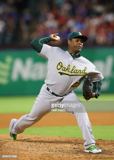 Santiago Casilla of the Oakland Athletics throws in the eight inning against the Texas Rangers at Globe Life Park in Arlington on September 30 2017...