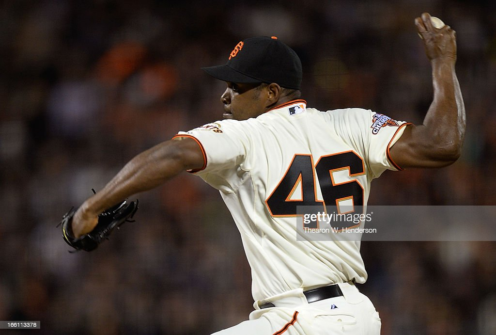 <a gi-track='captionPersonalityLinkClicked' href=/galleries/search?phrase=Santiago+Casilla&family=editorial&specificpeople=682637 ng-click='$event.stopPropagation()'>Santiago Casilla</a> #46 of the San Francisco Giants pitches against the Colorado Rockies in the seventh inning at AT&T Park on April 8, 2013 in San Francisco, California. The Giants won the game 4-2.