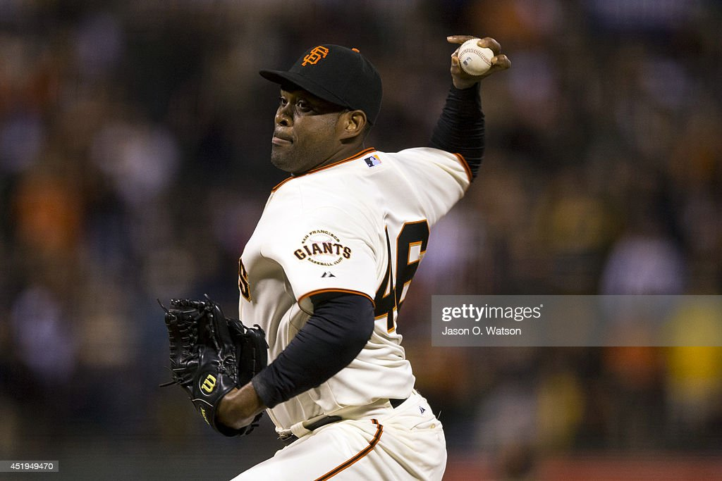 Santiago Casilla #46 of the San Francisco Giants pitches against the Oakland Athletics during the ninth inning at AT&T Park on July 9, 2014 in San Francisco, California. The Giants defeated the Athletics 5-2.