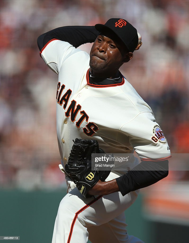 Santiago Casilla of the San Francisco Giants pitches against the Arizona Diamondbacks during the game at ATT Park on Tuesday April 8 2014 in San...