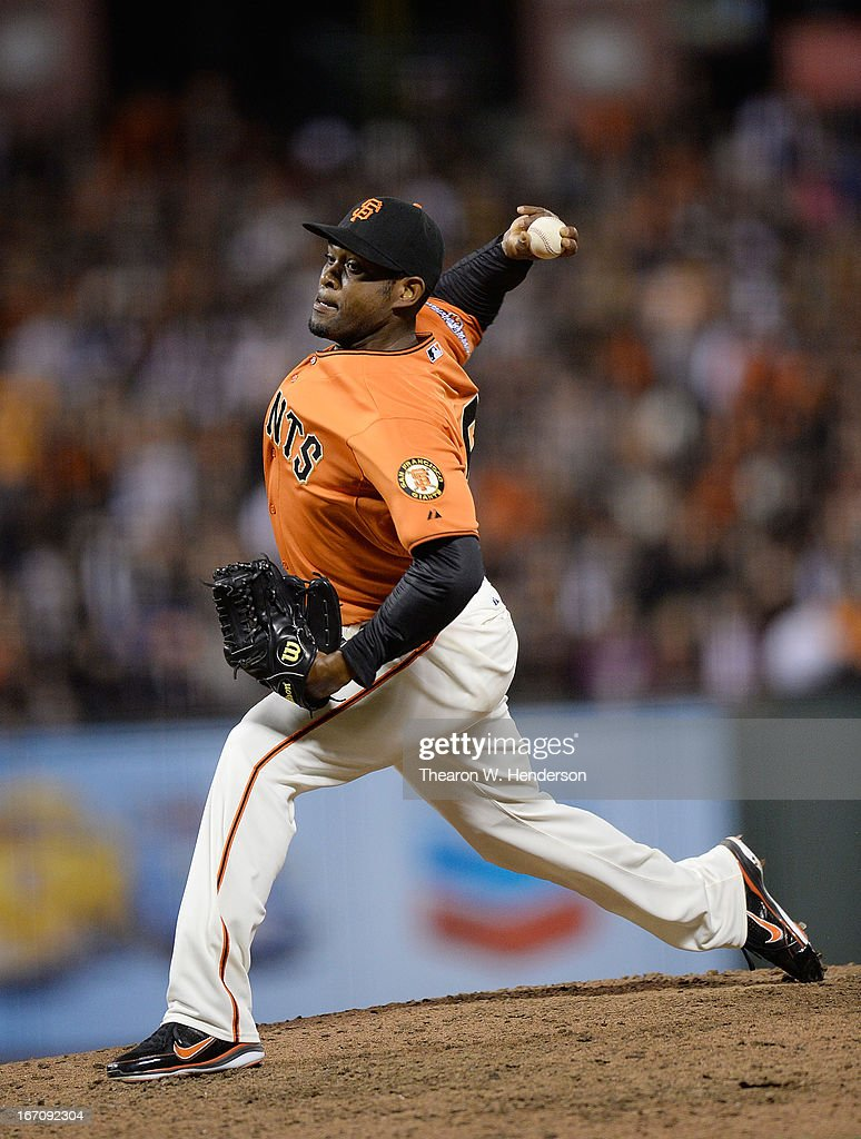 <a gi-track='captionPersonalityLinkClicked' href=/galleries/search?phrase=Santiago+Casilla&family=editorial&specificpeople=682637 ng-click='$event.stopPropagation()'>Santiago Casilla</a> #46 of the San Francisco Giants pitches against the San Diego Padres in the ninth inning at AT&T Park on April 19, 2013 in San Francisco, California. The Giants won the game 3-2.
