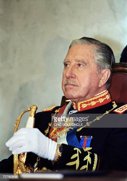 Portrait of Chilean dictator and Chief of the Armed Forces gen Augusto Pinochet during the presidential inauguration of Patricio Aylwin 11 March 1990...