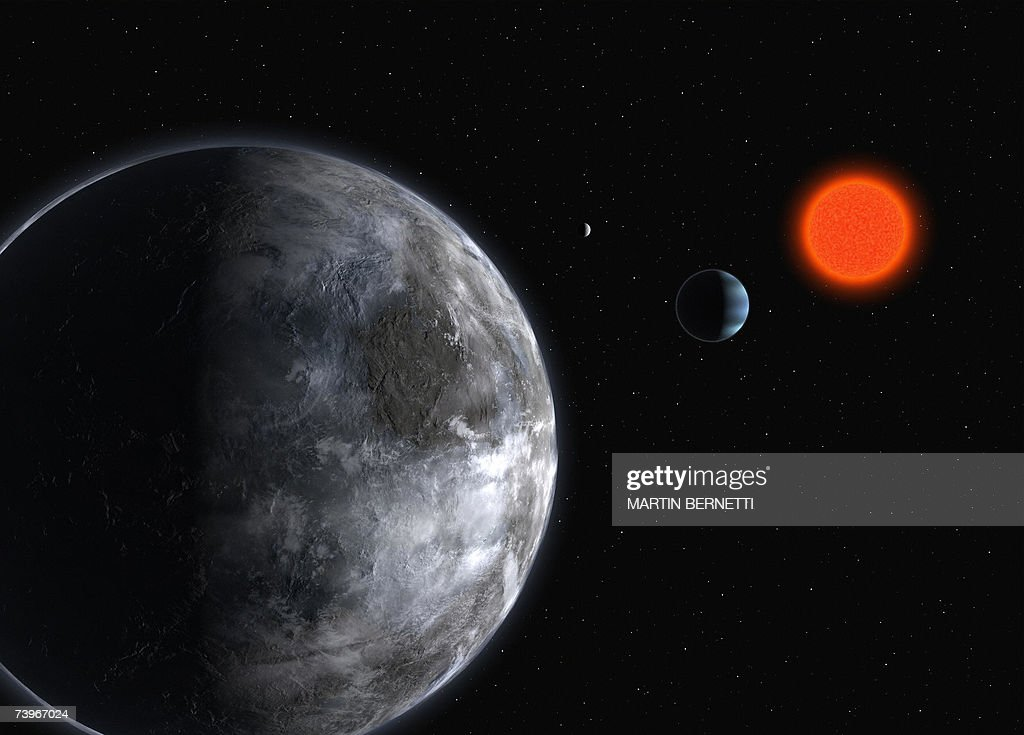A multi-media simulation showing the new planet discovered at La Silla's observatory, 24 April 2007 at European Southern Observatory (ESO)'s facility in Santiago. Astronomers reported on Tuesday they had discovered a 'super-Earth' more than 20 light years away that is the most intriguing world found so far in the search for extraterrestrial life. About five times the mass of Earth, the planet orbits a cool, dim 'red dwarf' star located in the constellation of Libra, the team from the ESO said in a press release. The star, Gliese 581, has already been identified as hosting a planet similar in size to Neptune, the frigid gas giant on the edge of our own Solar System. The new planet is 14 times closer to Gliese 581 than the Earth is to the Sun. But because Gliese 581 is so cool, the planet is not scorched by solar radiation. It zips around the star at express speed, making just 13 days to complete an orbit.