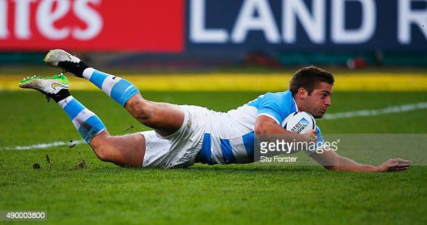 Santiago Cordero of Argentina scores his teams fourth try during the 2015 Rugby World Cup Pool C match between Argentina and Georgia at Kingsholm...
