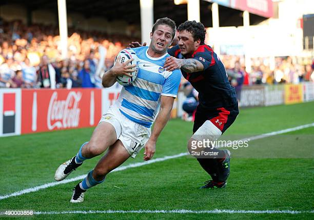 Santiago Cordero of Argentina scores his teams sixth try during the 2015 Rugby World Cup Pool C match between Argentina and Georgia at Kingsholm...
