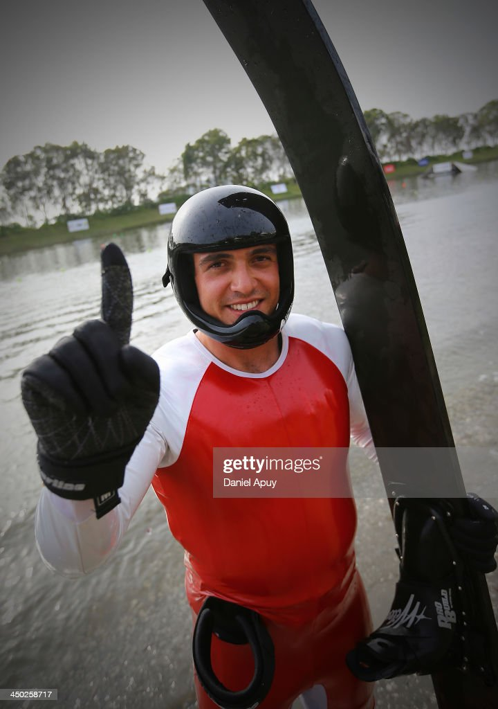 Santiago Correa of Colombia during the Final Water Skiing Open Men Jump event as part of the XVII Bolivarian Games Trujillo 2013 at Laguna de Bujama on November 17, 2013 in Lima, Peru.