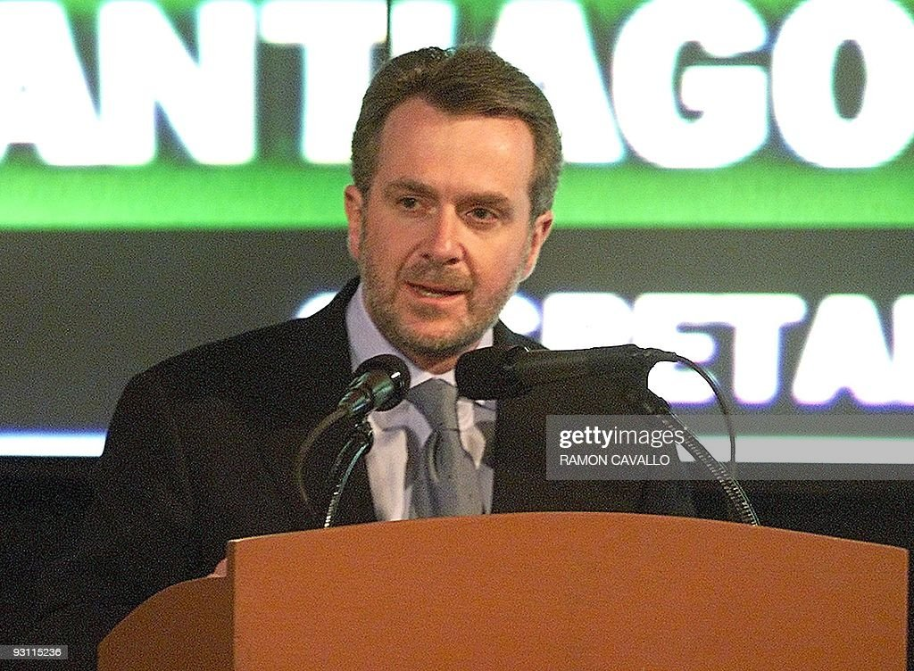 Santiago Creel Miranda speaks during the presentation of Mexican Presidentelect Vicente Fox's cabinet in Mexico City 27 November 2000 Creel will be...