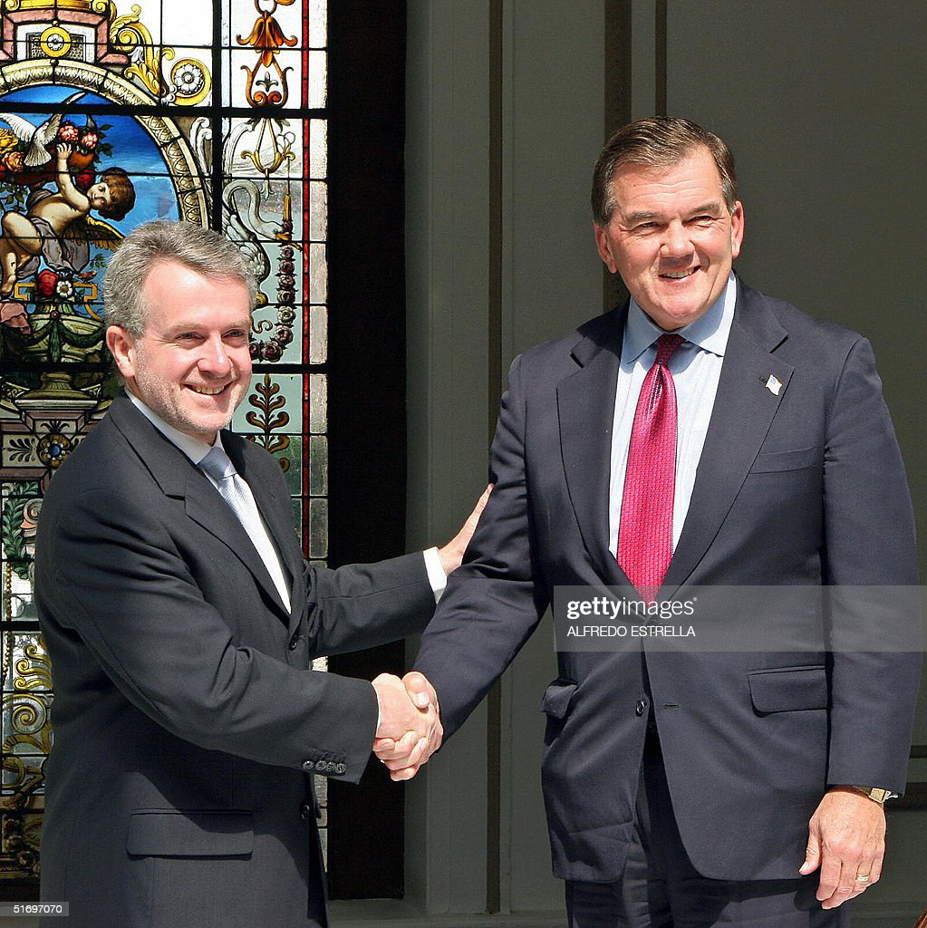 Santiago Creel Secretary of the Mexican Government shakes hands with Tom Ridge Director of US Homeland Security during a private meeting in Mexico...