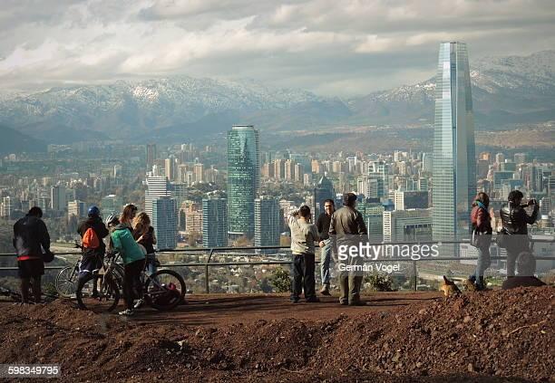 Santiago de Chile clean skyline from park terrace