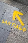 Santiago Direction Sign; Leon; Spain