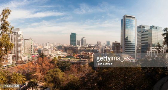 santiago  downtown from park of santa lucia