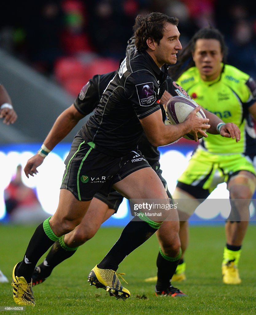 Santiago Fernandez of Pau during the European Rugby Challenge Cup match between Sale Sharks and Pau at AJ Bell Stadium on November 21 2015 in Salford...