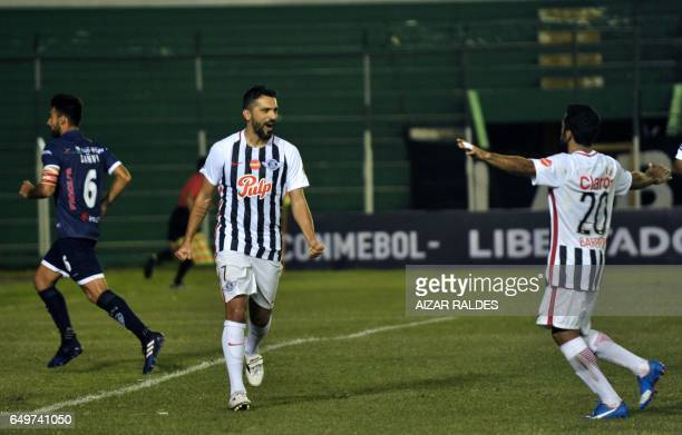 Santiago Gabriel Salcedo of Paraguay's Libertad celebrates after scoring against Bolivia's Sport Boys during their Copa Libertadores football match...