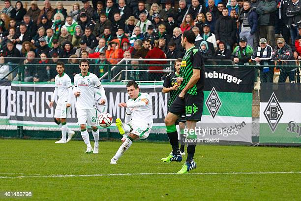 Santiago Garcia Fin Bartels Zlatko Junuzovic and Martin Stranzl during the friendly match between Borussia Moenchengladbach and SV Werder Bremen on...