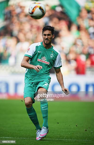 Santiago Garcia of Bremen in action during the Bundesliga match between Werder Bremen and Borussia Moenchengladbach at Weserstadion on August 30 2015...