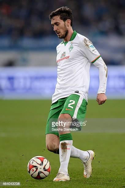 Santiago Garcia of Bremen runs with the ball during the Bundesliga match between FC Schalke 04 and SV Werder Bremen at Veltins Arena on February 21...