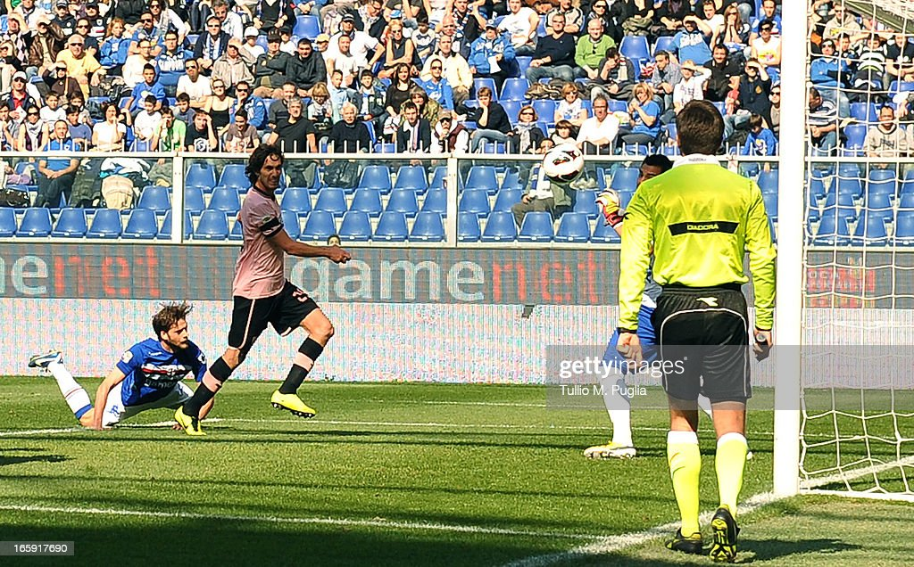 Santiago Garcia (2nd L) of Palermo scores his team's third goal during the Serie A match between UC Sampdoria and US Citta di Palermo at Stadio Luigi Ferraris on April 7, 2013 in Genoa, Italy.