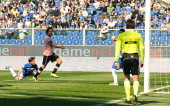 Santiago Garcia of Palermo scores his team's third goal during the Serie A match between UC Sampdoria and US Citta di Palermo at Stadio Luigi...