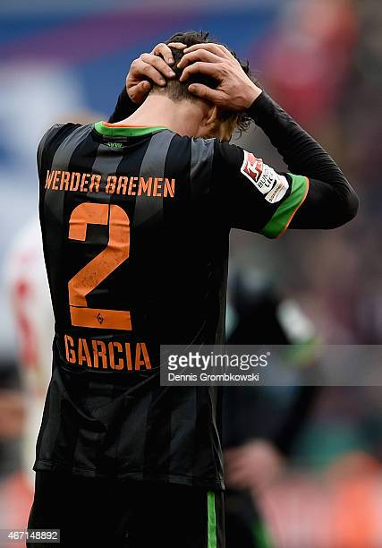 Santiago Garcia of SV Werder Bremen looks dejected after the Bundesliga match between 1 FC Koeln and SV Werder Bremen at RheinEnergieStadion on March...