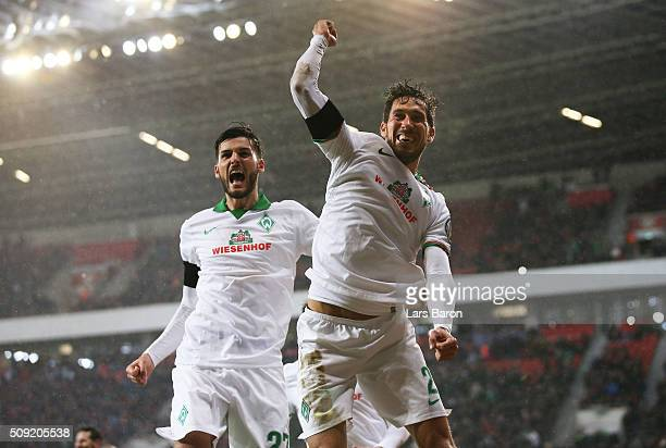 Santiago Garcia of Werder Bremen celebrates after scoring their first and equalising goal during the DFB Cup Quarter Final match between Bayer...