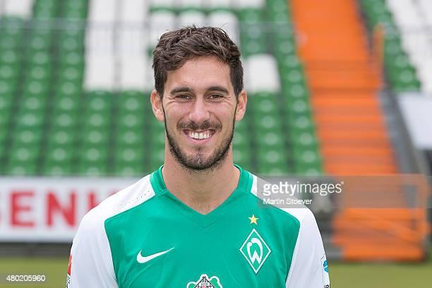Santiago Garcia poses during the official team presentation of Werder Bremen at Weserstadion on July 10 2015 in Bremen Germany