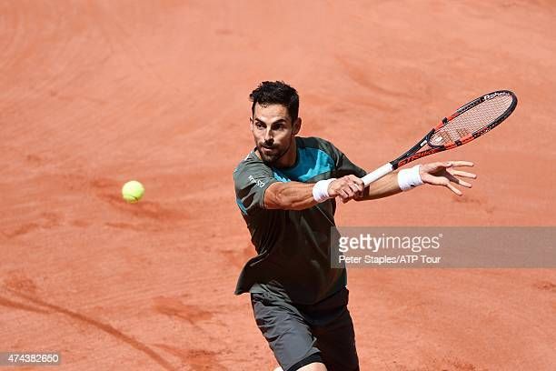 Santiago Giraldo of Columbia in action during his SemiFinals match against Thomaz Bellucci of Brazil at the Geneva Open at Parc des EauxVives on May...