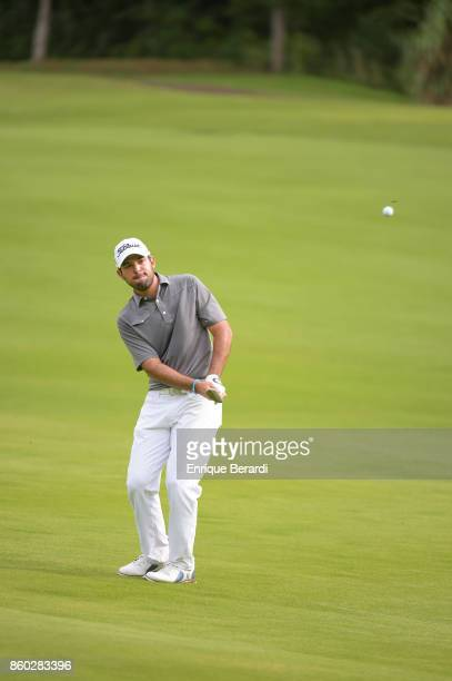 Santiago Gomez of Colombia chips up to the 17th green during the final round of the PGA TOUR Latinoamérica Flor de Cana Open at Mukul Beach Golf and...