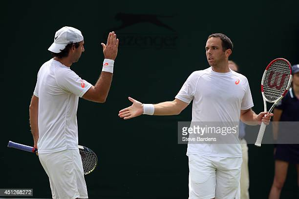 Santiago Gonzalez of Mexico and Scott Lipsky of the United States during their Gentlemen's Doubles first round match against Lukas Dlouhy of Czech...