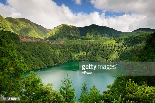 Santiago lagoon in Azores islands