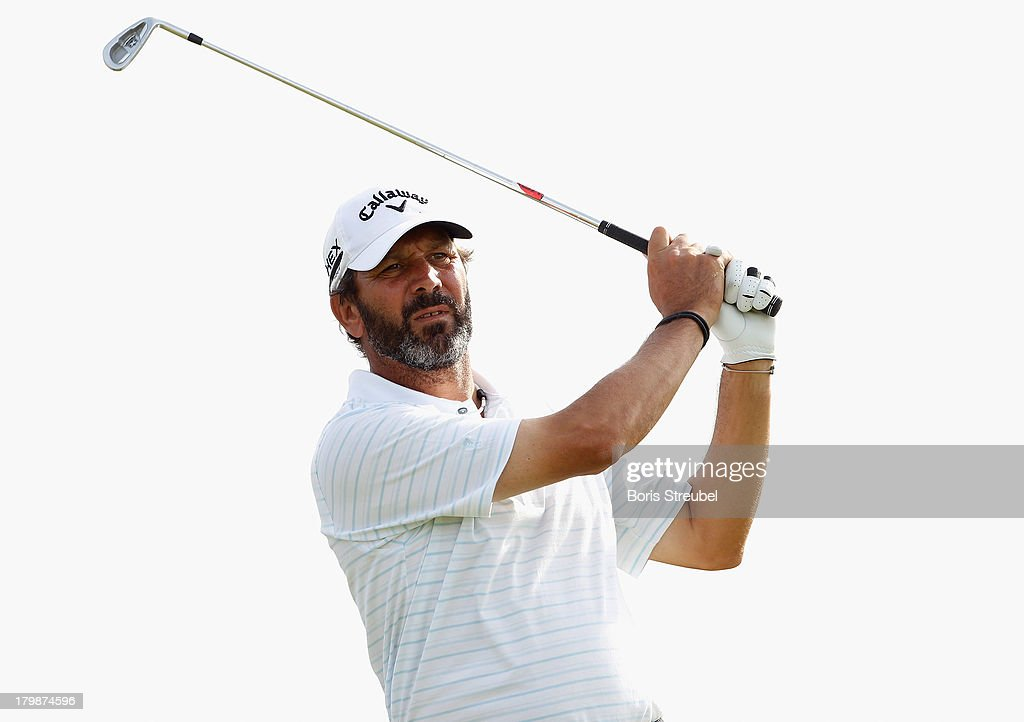 <a gi-track='captionPersonalityLinkClicked' href=/galleries/search?phrase=Santiago+Luna&family=editorial&specificpeople=4597144 ng-click='$event.stopPropagation()'>Santiago Luna</a> of Spain hits a drive during the second round on day two of the WINSTONgolf Senior Open played at WINSTONgolf on September 7, 2013 in Schwerin, Germany.