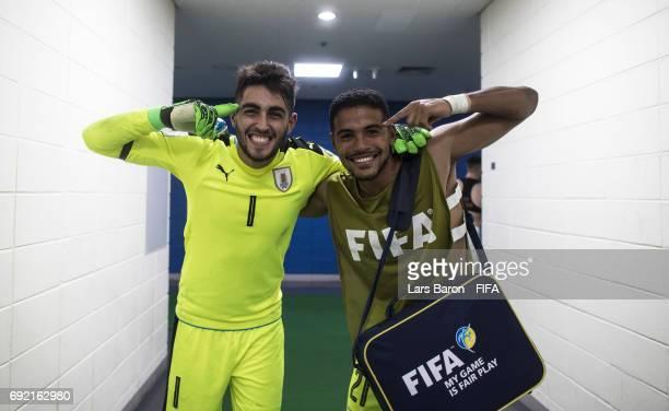 Santiago Mele of Uruguay celebrates Adriano Freitas of Uruguay after winning the FIFA U20 World Cup Korea Republic 2017 Quarter Final match between...