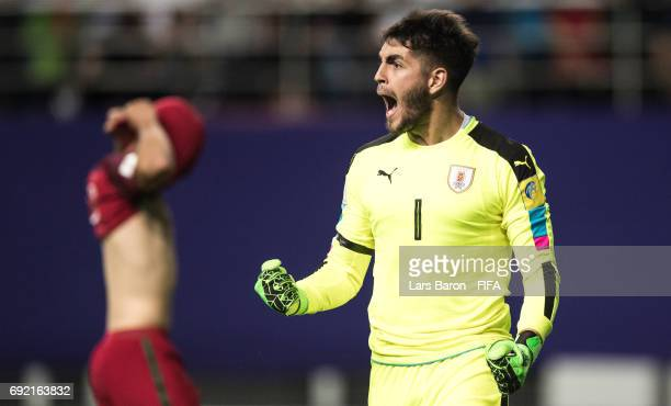 Santiago Mele of Uruguay celebrates after a penalty during the FIFA U20 World Cup Korea Republic 2017 Quarter Final match between Portugal and...