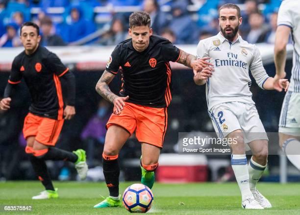 Santiago Mina Lorenzo Santi Mina of Valencia CF in action during their La Liga match between Real Madrid and Valencia CF at the Santiago Bernabeu...
